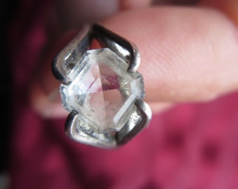 Vintage Sterling Ring with Glass Faux Diamond