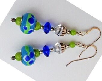 Lime green earrings, Lampwork earrings jewelry, Blue earrings, Green earrings,beads earrings beaded jewelry dangle earrings, drop earrings