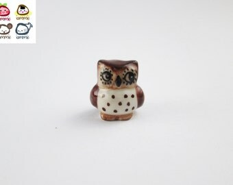 Miniature Ceramic Owl Figurine, owl figure, bird, ceramic animal, animal figurine, miniature owl, little animal, animal figure, brown, mini