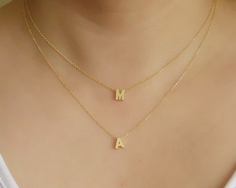 Initial jewellery-Double strands initials Necklace-Initial layered necklace-Two initials necklace-Personalized-Gold Letters charms necklace