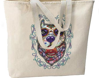 Sugar Skull Pit Bull Dog New Large Tote Bag Travel Events Day of the Dead