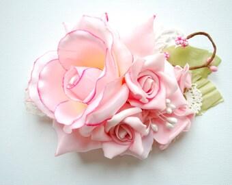 Romantic Rose Bridal Hair Comb, Weddings Hair Accessories, Bridal Bridesmaids Headpiece, Shabby Chic, Pastel, Pale Pink, Bridal Sash
