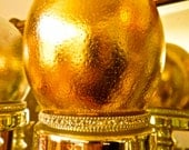 """STUNNING OSTRICH Egg Stand Mercury Glass 18"""" (45.720 cm) Silver or Gold  with Gilded Ostrich Egg"""