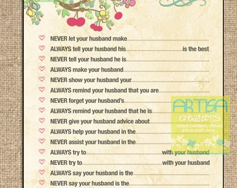 Love Birds Marriage Advice, Birds Marriage Advice for new bride, Bride to be marriage advice, Marriage Advice Game, Bridal Shower Game