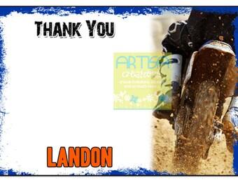 Motocross Thank You Card - Moto Cross Thank you Note Card - Motocross Stationary