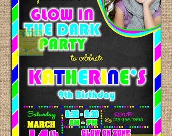 Glow in the Dark Birthday Invitation, Neon Birthday Invitation, Glow in the dark invitation, Neon Invitation, Neon Colors Invitation, Glow