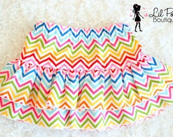 Girls Ruffled Rainbow Girly Chevron Skirt