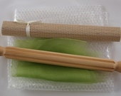 Wet Felting Kit A Including Ribbed Roller and Instructions