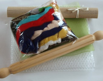 Wet Felting Kit B Including Ribbed Roller 100g Wool and Instructions