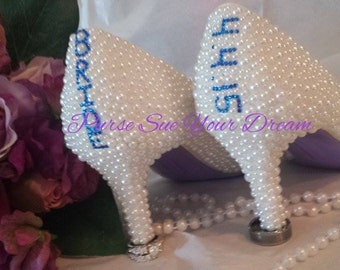 Custom Bridal Pearl Designed  Wedding Heels - Wedding Shoes - Bridal Heels - Custom Shoes  - Pearls and Lace - Pearl Wedding Pumps