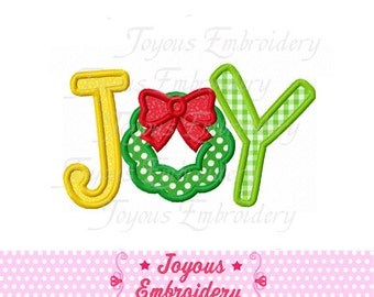 Instant Download Christmas JOY With Wreath Applique Embroidery Design NO:1608