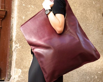 NEW Genuine Leather Burgundy Bag / High Quality  Tote Asymmetrical  Large Bag by AAKASHA A14176