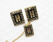 Initial H Cufflinks and Tie Tack Set Vintage Mens Jewelry H650