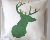 White, Burlap,deer silhouette, pillow, with antlers decked with gold mini bells,Holiday Pillow, Decorative Pillow, Christmas