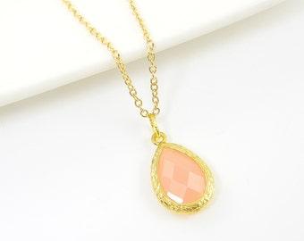 Pink Teardrop Necklace, Pink Gold Pendant Necklace, Dainty Pink Necklace, Pink Gold Drop Necklace, Feminine Jewelry Charm |CJ2-9