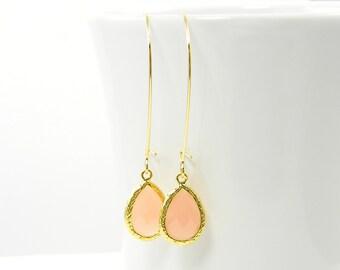 Pink Teardrop Earrings, Long Drop Earrings, Gold Kidney Wire, Faceted Stone Dangle Earrings |CJ2-16