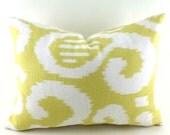 Lumbar Pillow Covers Decorative Pillows Yellow Pillow Ikat Pillow Suburban Home Fergana Ikat Lemon