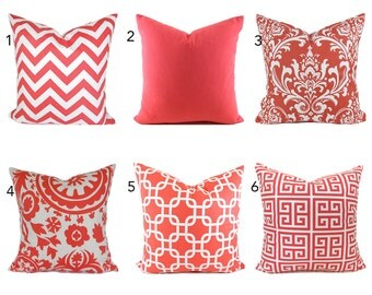 Pillow Covers ANY SIZE You Choose Decorative Pillow Cover Coral Pillow Salmon Pillows Ikat Pillow Chevron Pillow