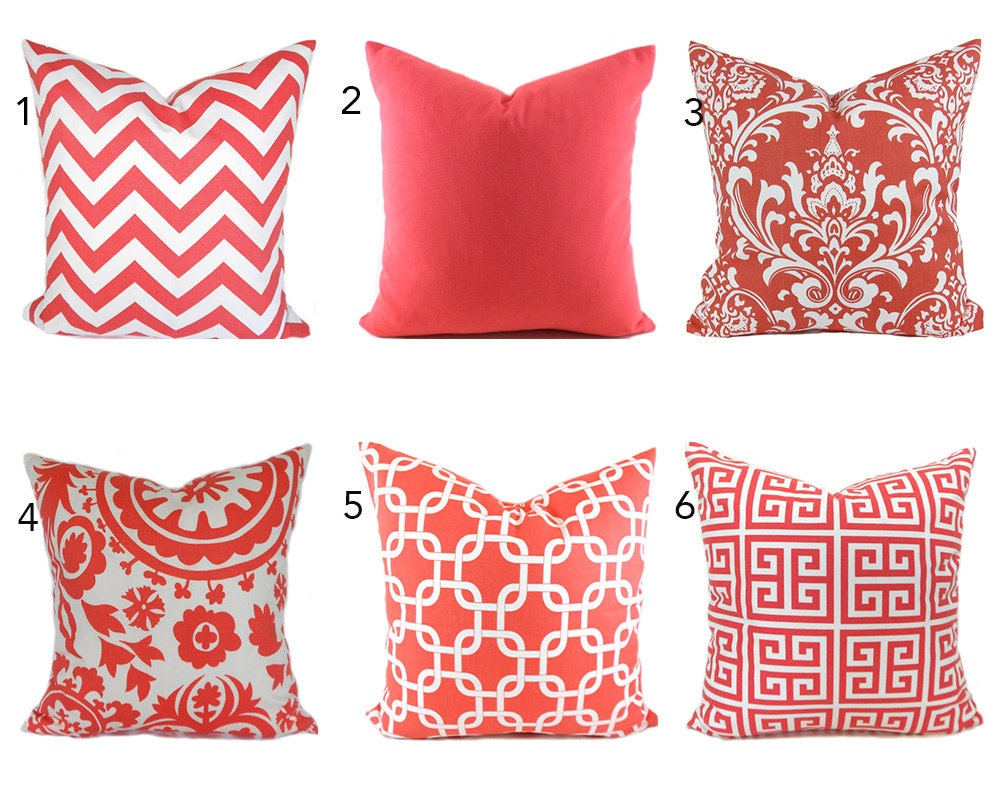 Throw Pillow Cover Measurements : Pillow Covers ANY SIZE Decorative Pillow Cover Coral Pillow