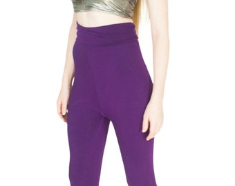 Bamboo Yoga Pants High Waist Leggings Purple Organic Dance Wear