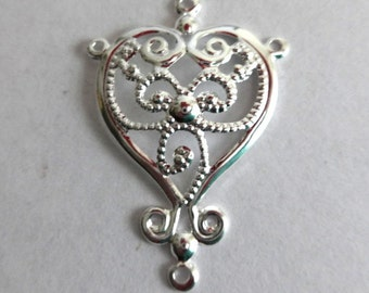 2 Silver Plated Heart Earring/Connector Charms/Pendants