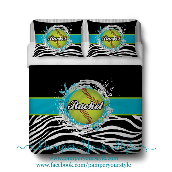 Softball Custom Bedding Zebra And Softball Bed Personalize