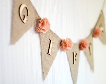 burlap wedding gifts banner / peach / shabby chic rustic wedding decoration / bridal baby shower banner / fabric flowers gift table sign
