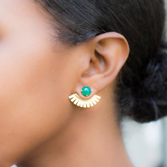 Green Onyx Wings/ Ear Cuffs/ Ear Jackets/ Earjackets/ Gold Ear Cuffs/ Lanie Lynn Vintage Jewelry/ Edgy Earrings/ Interchangeable Earrings