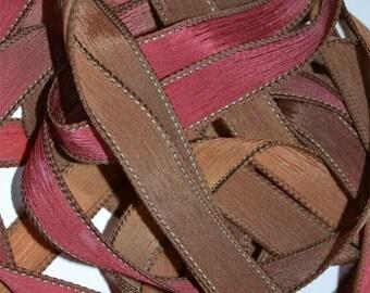 "Caramel Apple  42 ""hand dyed  silk ribbon// Silk Wrist Wrap  Bracelet Ribbons// Silk Wrap Ribbons// Silk Ribbons//By Color Kissed Silk"