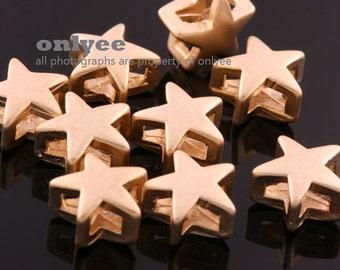 6pcs-8mmX8mmX4.5mmMatte Gold plated over Brass Cute Star Slide Charms,Pendants(K718G)