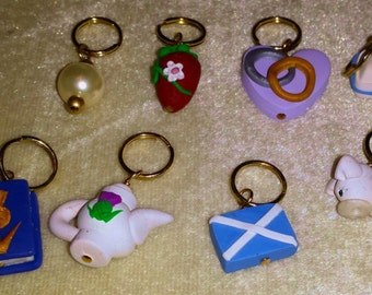 Stitch Markers Outlander inspired Fraser Claire JAMMF Jamie Scotland Flag Tea Ellens' Pearls Set of 8