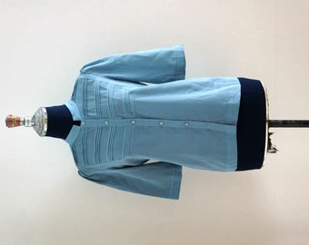 80s Original Vintage Blue Grey Puff Shoulder Blouse // Mod Retro Blouse // Size M - L