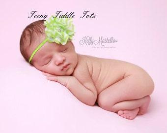 Baby headband,Lime Green Chevron Headband, Newborn Headband, Shabby chic headband, couture baby headband,flower headband, Easter Headband