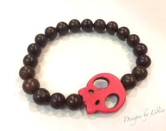 Mens Brown Bone Beaded Bracelet with Red Howlite Skull Charm Bead