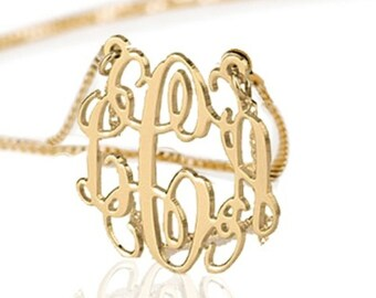 Monogram necklace - 0.8 inch Personalized Monogram - 10k Solid Gold