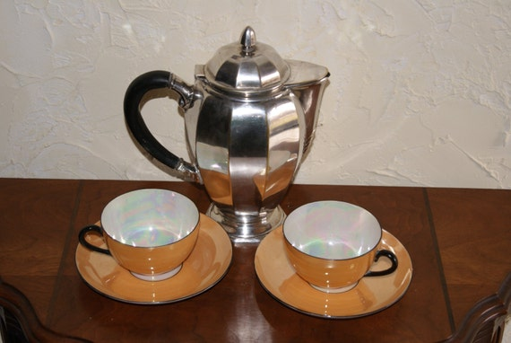 Vintage Tea For Two Set Art Deco Silverplate Teapot And Lot of 2 Czechoslovakian Cups And Saucers Marked Union K