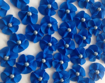 Dark Blue Royal Icing Flowers with Silver Sugar Pearl Center (100)