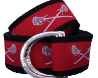 Lacrosse Belt / D-Ring Belt / Canvas Belt / Preppy Belt/ Men's Belt/ Woman's Belt/ Boy's Belt/ Red and White Lacrosse with Black Webbing