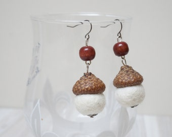Felted acorn earrings dangle natural oak caps wool ball (0.5 in. size) white green yellow grey blue pink purple orange wooden hook