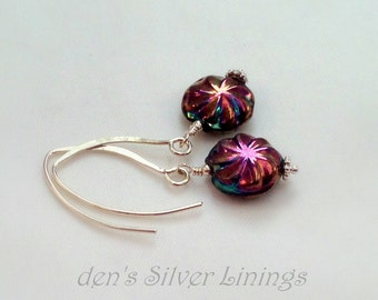 Handcrafted Dangle Earrings, Multicolor Czech Glass and Sterling Silver, Iridescent Beads  on Handmade Solid Sterling Silver Ear Wires