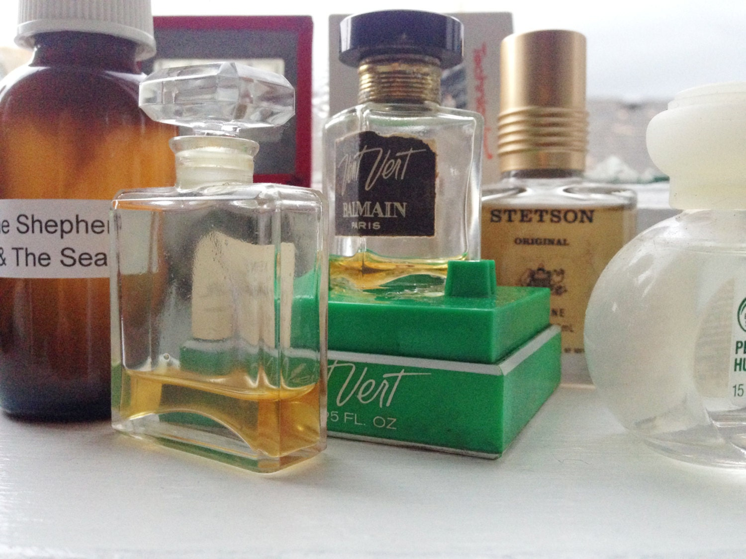 the shepherd and the sea perfume + unisex + natural witch hazel base + green tea + tomato leaf + absinthe + ambergris