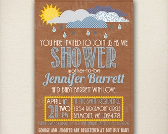Rain Cloud and Sunshine Baby Shower Invitation, Raindrops, Blue and Yellow, Gender Neutral, Digital File, Customizable, Printable, Download