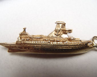 Large Detailed and Heavy Solid 14K Cruise Ship Charm or Pendant Almost 2 Inches