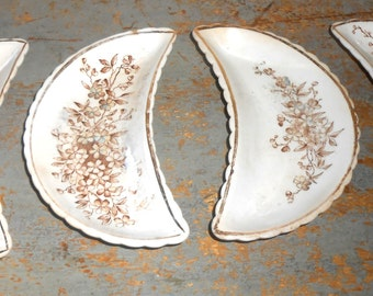 Vintage Bone Dish, Plates, Floral, Brown,  Antique, Fall Decor, Trinket Dish, Snack Plates, Vanity Decor, Side Dish Plates, Set of Four