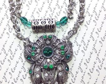 """Redesigned Ornate Art Nouveau Art Deco Necklace~Pendant Emerald Green Stones~Long 21"""" Double Silver Chains ~Repurposed Vintage Fur Clip 30's"""