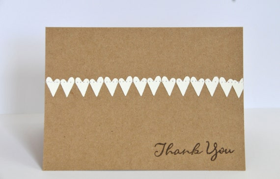 Wedding Thank You Card Set with Hearts