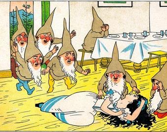 """Art by Logar Meggendorfer (1910) - """"Snow White."""". - Vintage Art, Story Book Art, Family Art, Children's Art"""