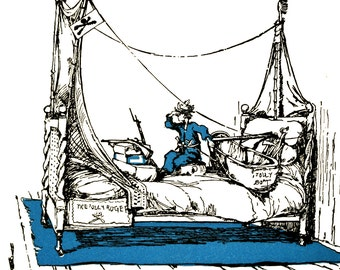 The Jolly Roger Pirate Bed Boat - Art by R.H. Sauter - the book AWAKENINGS.. - Vintage Art, Story Book Art, Family Art, Children's Art