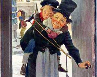 Tiny Tim   - A Christmas Carol -  Vintage Print  - Christmas Holiday Art
