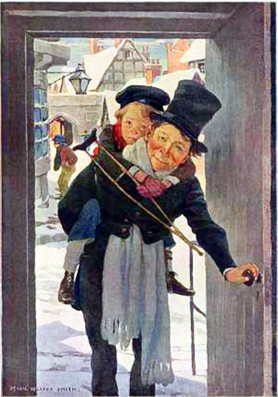 Tiny Tim - A Christmas Carol - Vintage Print - Christmas Holiday Art